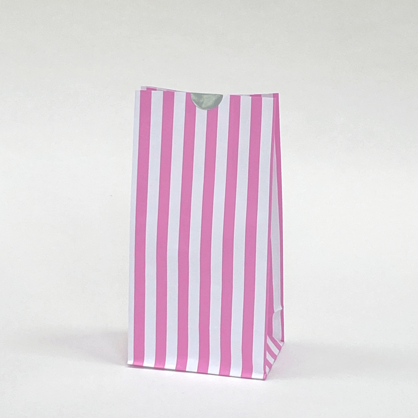 Pink Striped Party Bags | Block Bottom Paper Bags