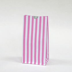 Candy Striped Party Bags Bubblegum Pink (12 Pack)
