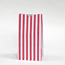 Candy Striped Party Bags Red (12 pack)