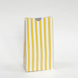 Candy Striped Party Bags Yellow (12 Pack)