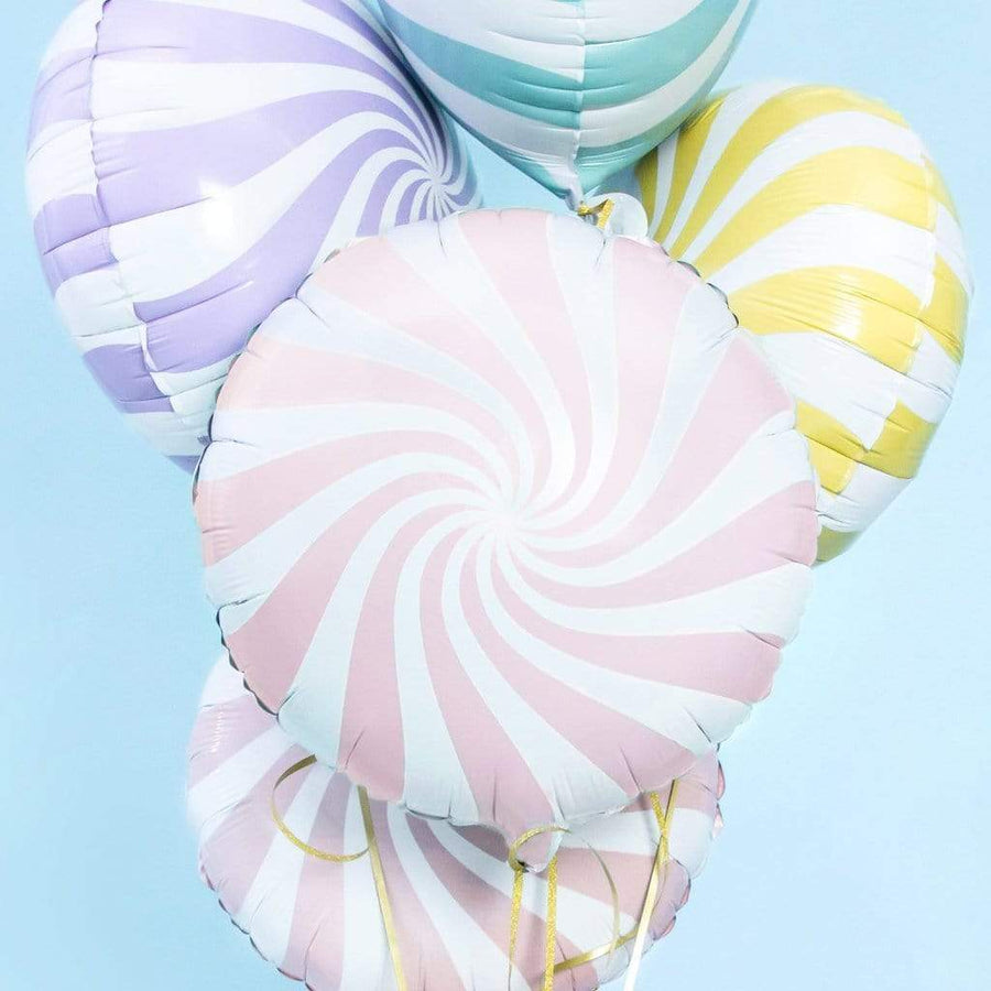 Mint Candy Swirl Foil Balloons