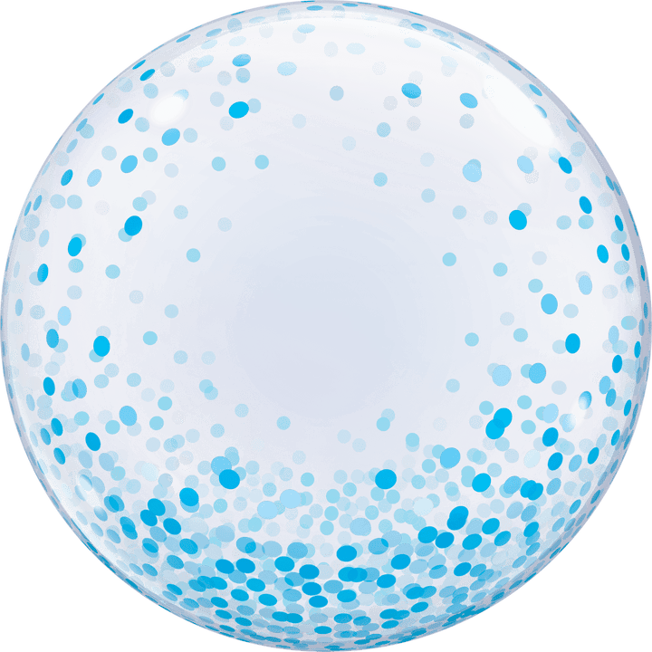 Confetti Bubble Balloon - Blue 24