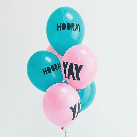 Blue and Pink Yay Balloons | Cool Balloons with YAY Script Writing