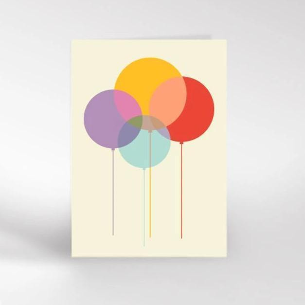Dicky Bird Card - Balloons