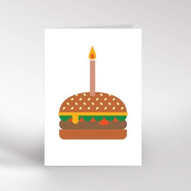 Dicky Bird Card - Burger Birthday Cake