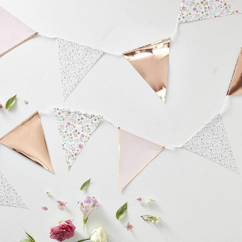 Ditsy Floral Rose Gold Bunting | Stylish Party Supplies UK