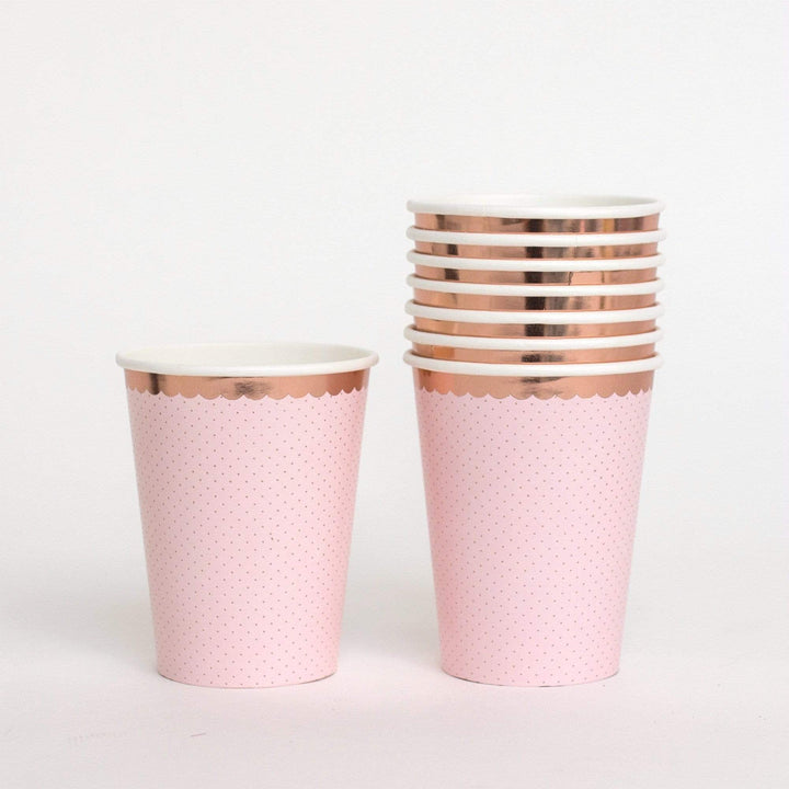 Ditsy Polka Rose Gold Cups (8 Pack)