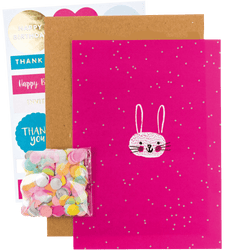 DIY Bunny Birthday Card | Confetti Filled Card and Stickers
