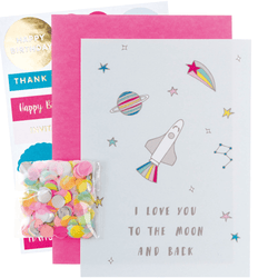 DIY Confetti Card | Space Party | Love you to the moon and back greetings card