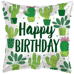 Eco One Square Balloon - Happy Birthday Cactus