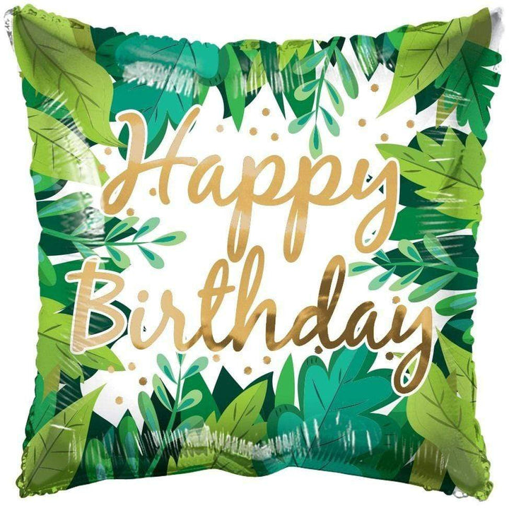 Eco One Square Balloon - Happy Birthday Foliage