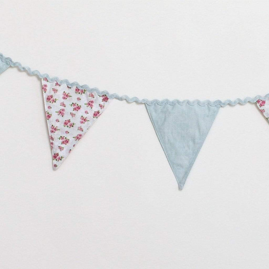 Blue Floral Fabric Bunting