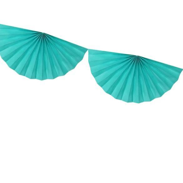 Teal Fan Garlands - Paper Fan Decorations