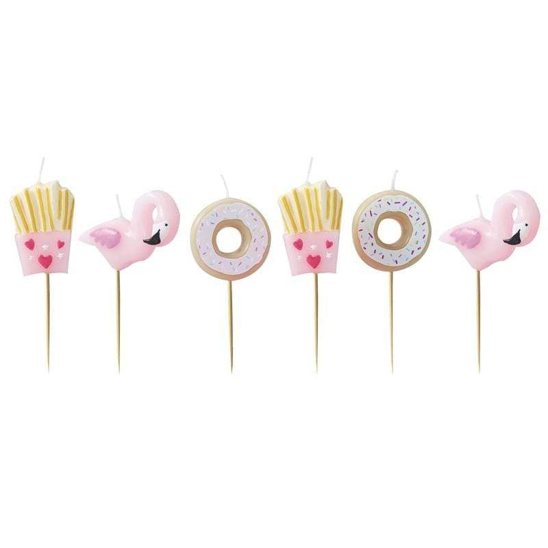 Donut, Fries and Flamingo Birthday Cake candles