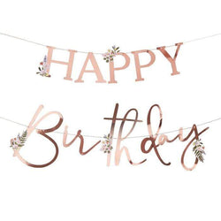 Floral Rose Gold Birthday Banner