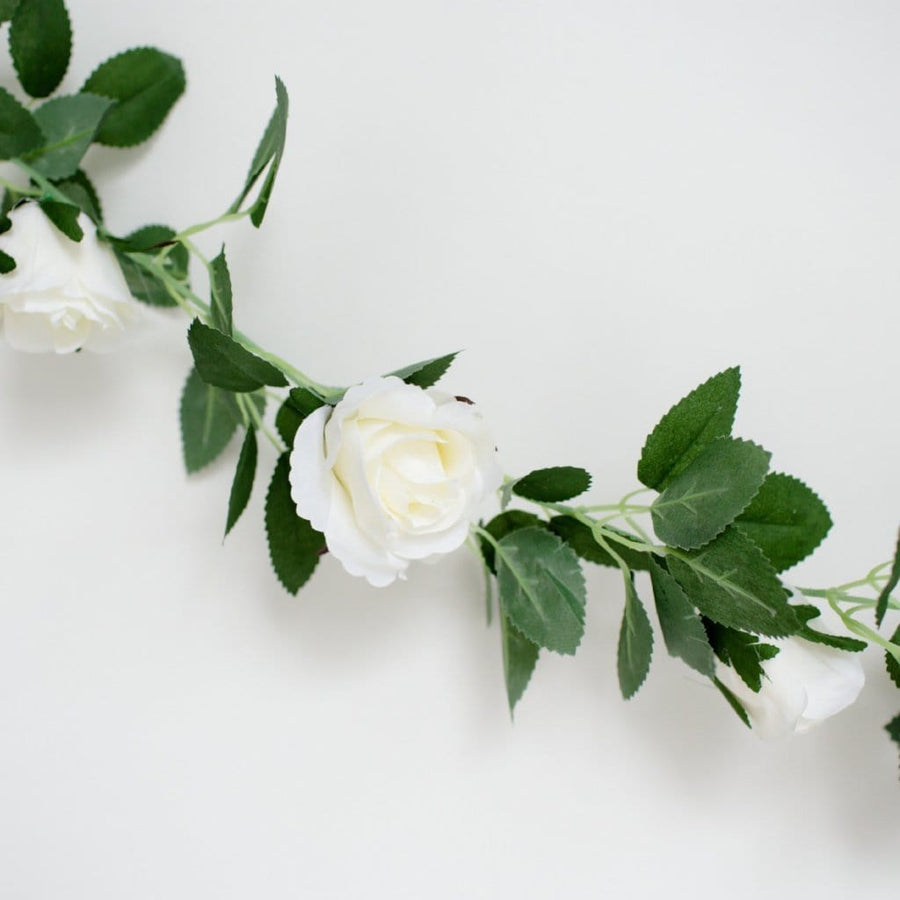 Artificial Peopny Flower Garland White