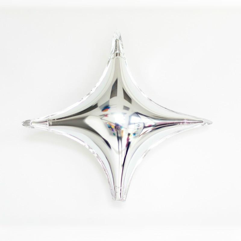 Silver Four Point Star Balloon | Helium Foil Balloons | Silver Star Balloon