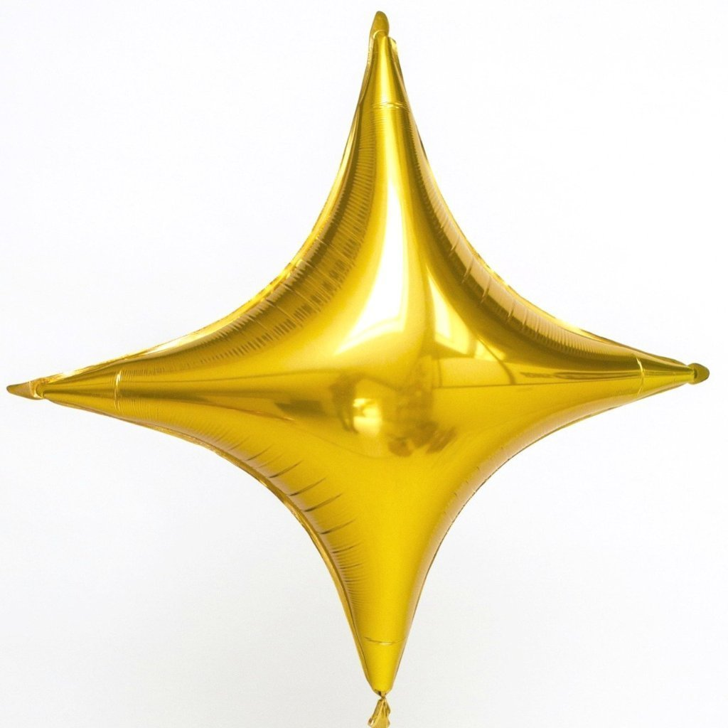 Giant Gold Four Point Star Balloon