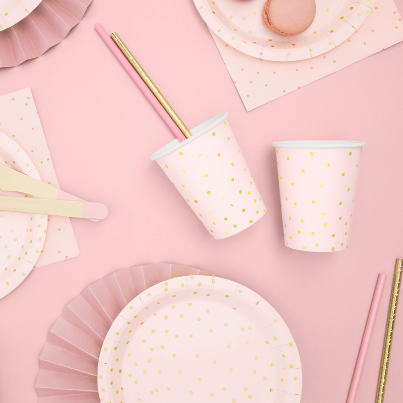 Blush & Gold Paper Party Cups | Party Deco
