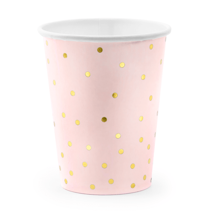 Gold & Blush Polka Cups (6 pack)