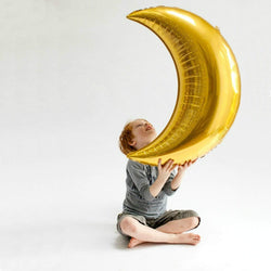 Gold Crescent Moon Balloon 35""