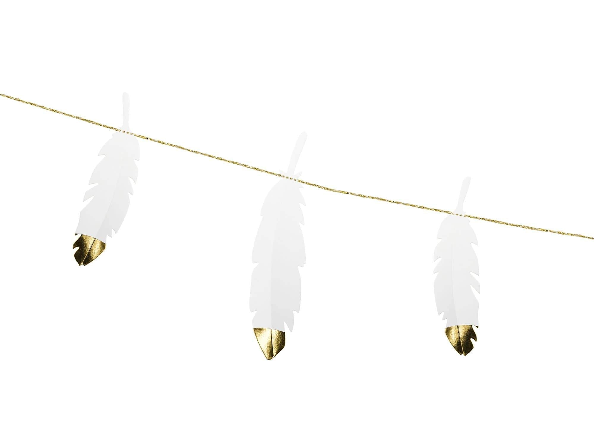 Feather Party Garland - Gold Dipped