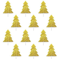 Gold Glitter Christmas Tree Toppers (12 Pack)