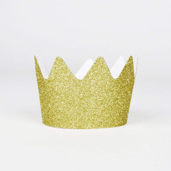 Gold Glitter Crowns (8 Pack)
