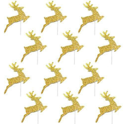 Gold Glitter Reindeer Toppers (12 Pack)