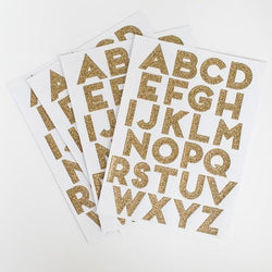 Gold Glittering Alphabet Stickers (10 Sticker Sheets)
