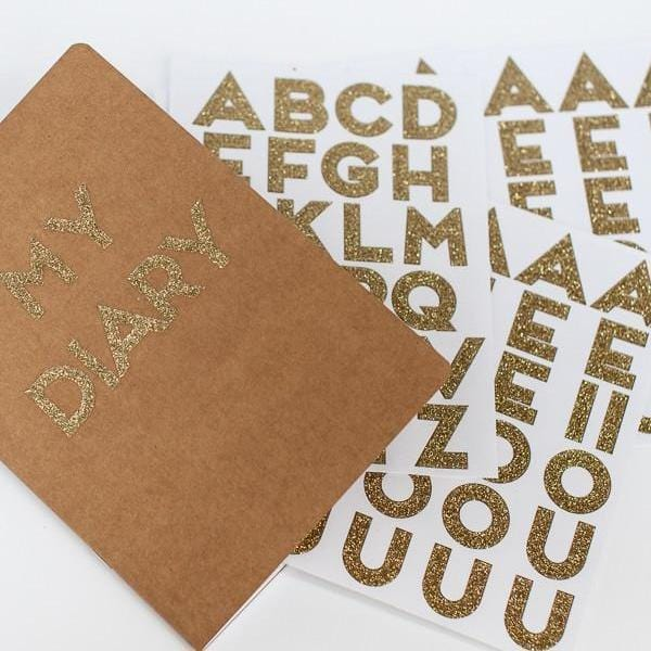Gold Glitter Alphabet Stickers Meri Meri