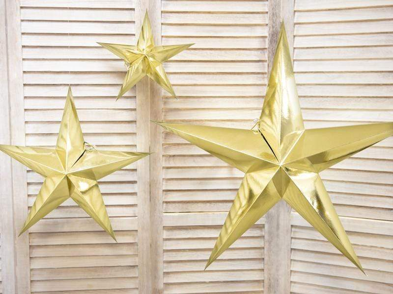 Gold Hanging Star Decoration - 30cm