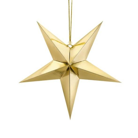 Gold Hanging Star Decoration - 45cm