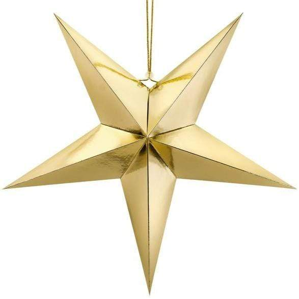 Gold Hanging Star Decoration - 70cm