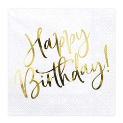 Gold Happy Birthday Party Napkins