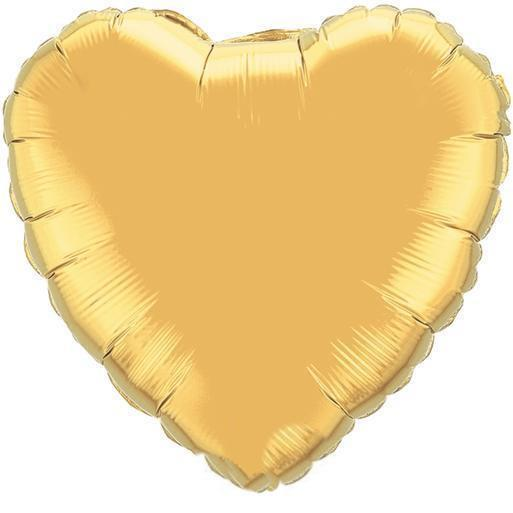 Gold Heart Foil Balloons - Beautiful Balloons