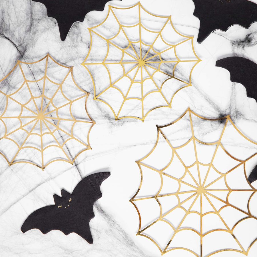 Gold Spiderweb Party Decorations | Cool Modern Halloween Party Decor