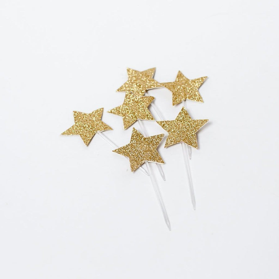 Glitter Gold Star Cupcake Toppers