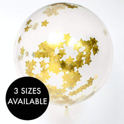 Gold Stars Confetti Filled Balloon