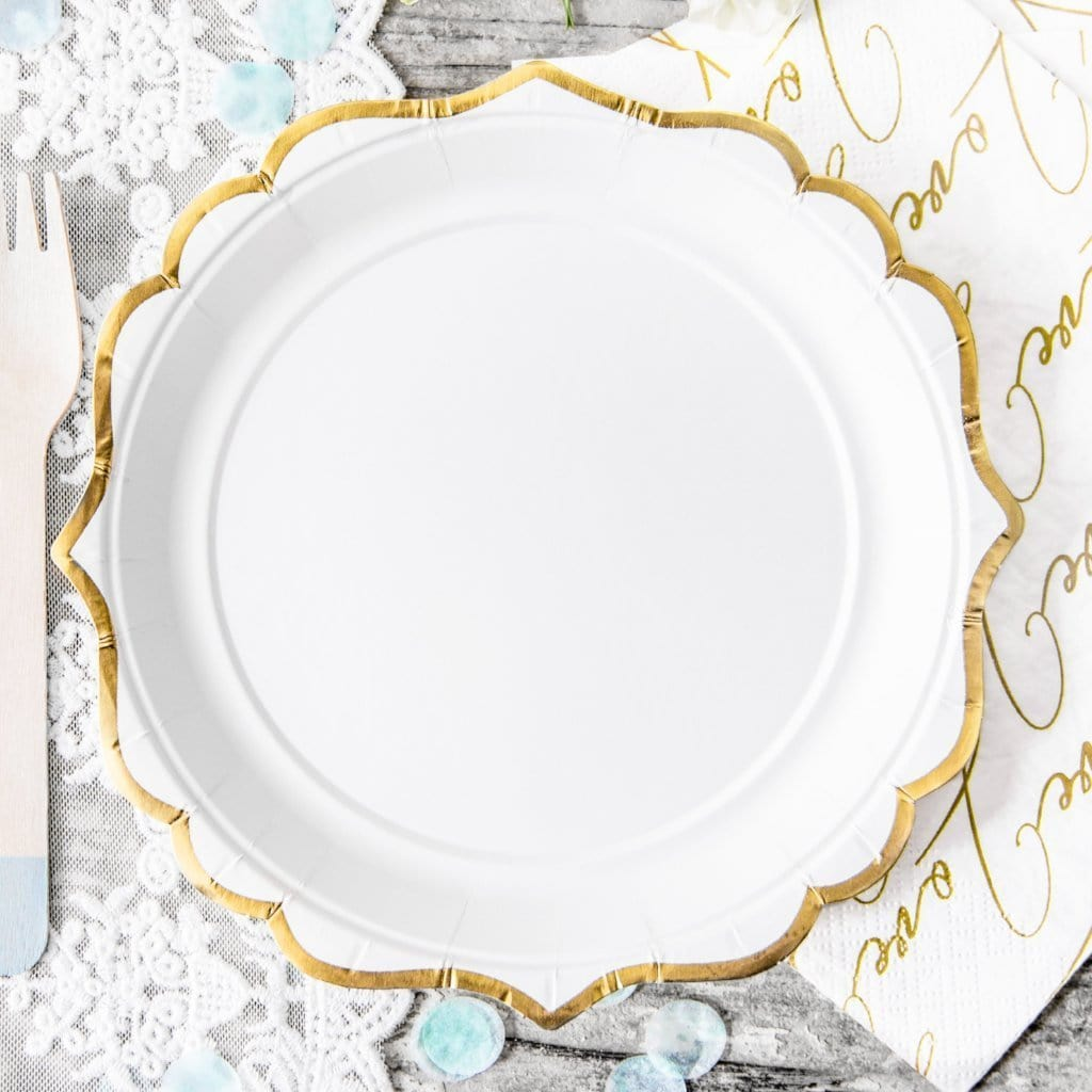 Gold Trim Small White Plates (6 pack)