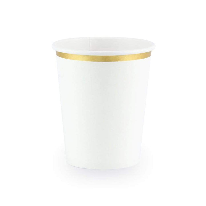Gold Trim White Cups (6 pack)