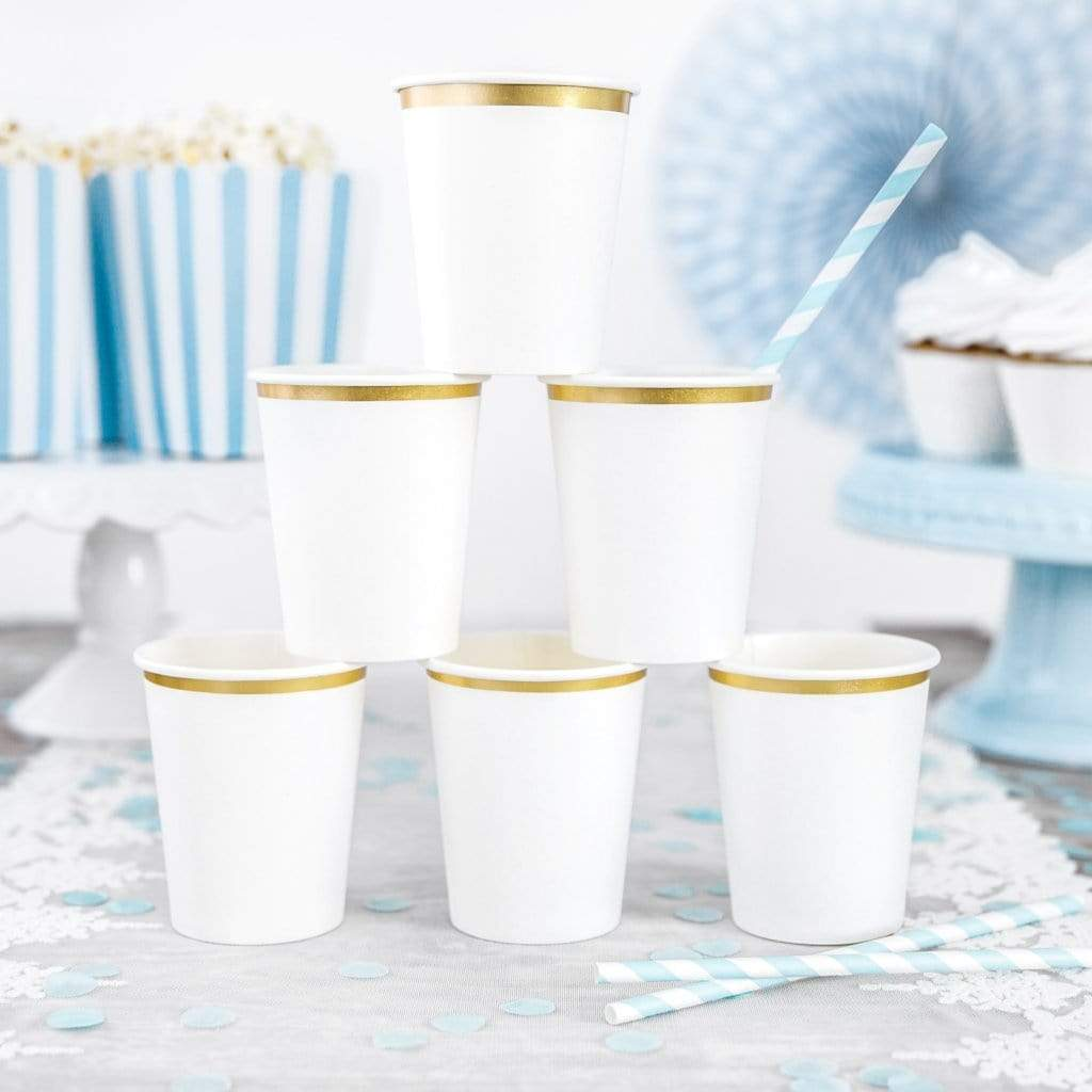 Stylish white and Gold Paper Party Cups