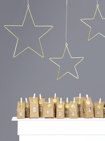 Metal Gold Hanging Star Decorations | Beautiful Unique Christmas Decoration