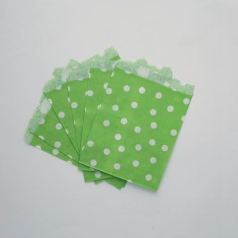 Spotty Paper Bags Green