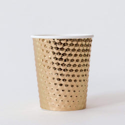 Hammered Metal Paper Cups Gold (10 Pack)
