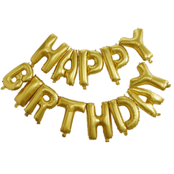 Happy Birthday Balloon Bunting - Gold