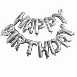 Happy Birthday Balloon Bunting - Silver