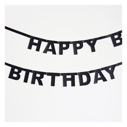 Happy Birthday Glitter Garland - Black