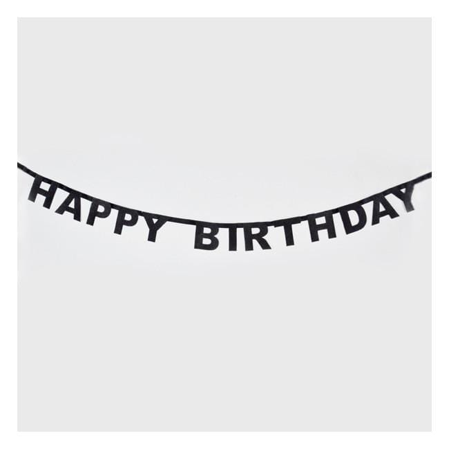 Happy Birthday Party Garland | Black Birthday Banner