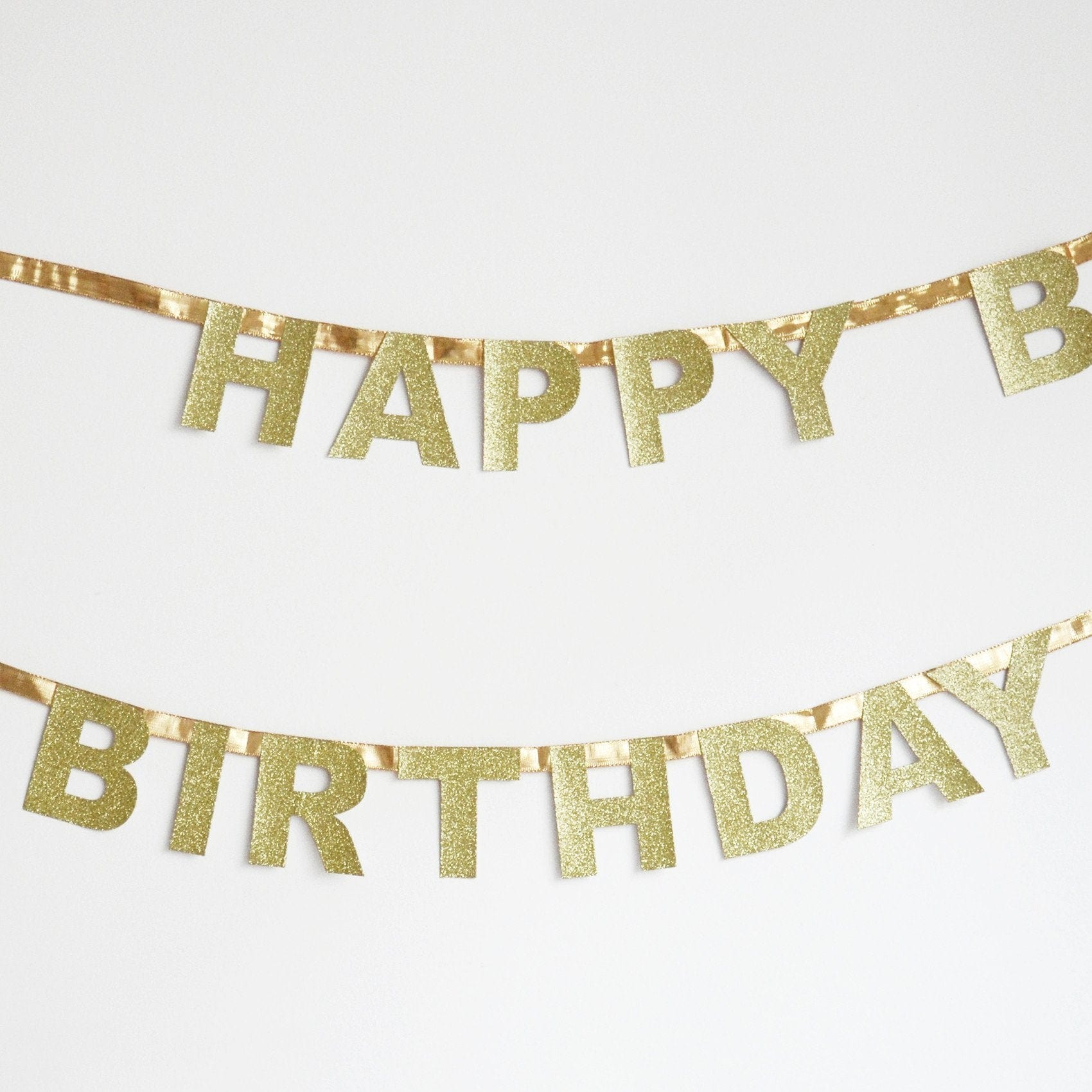 Happy Birthday Party Garland | Gold Birthday Banner